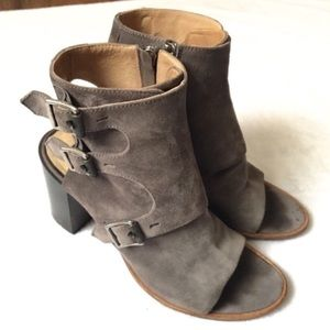 Rag & Bone Suede Pump Block Heel Peep Toe Shoe 9.5